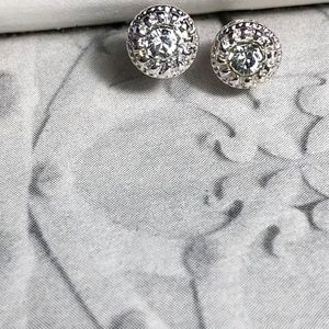 NEW 3 FOR 35 DIAMOND GOLD HALO STUDS